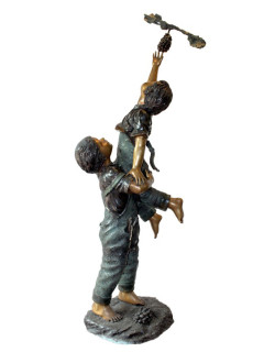 Boy and Girl with Grapes bronze statue