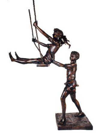 Children On Swing bronze statue