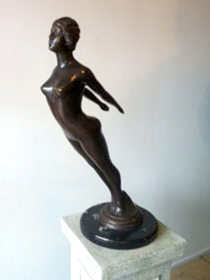 French Art Deco Lady with marble base