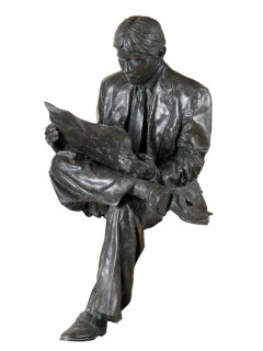 Man With Paper bronze statue