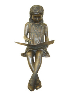 Reading Girl bronze statue
