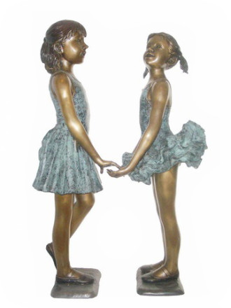 Two Girls bronze statues