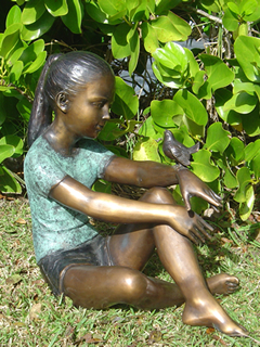 Sitting Girl With Bird