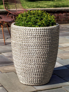 Tall Sisal Weave Planter - Cream
